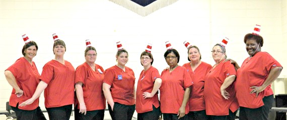 "Lunchroom Ladies ""styling"" on SWLE ""Read Across America Day"""