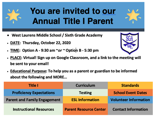 FY21 Fall Annual Title I Meeting Invitation