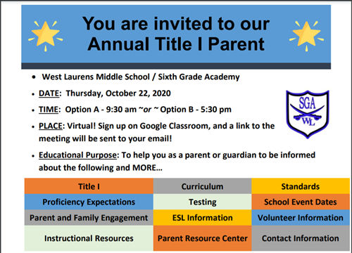 Annual Title I Parent Meeting Invitation