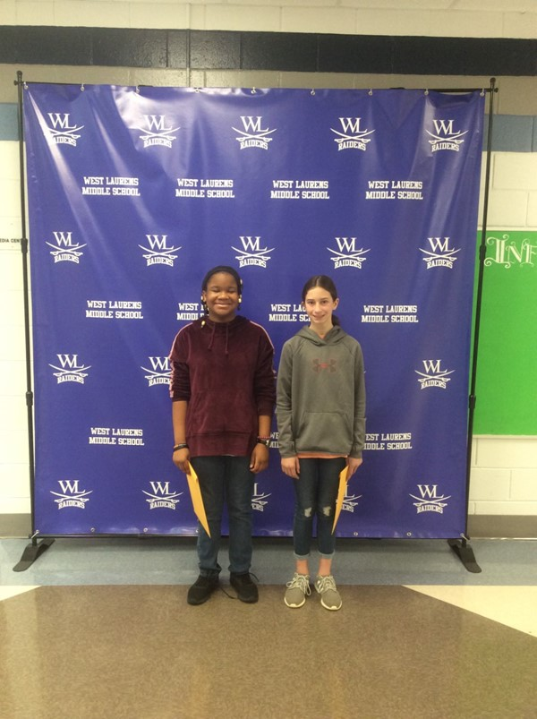Congratulations to Emma Garrett: Winner (right) and Aaysia Foston: Runner-up (left) for placing in WLMS 2019-2020 Spelling Bee Competition!!!