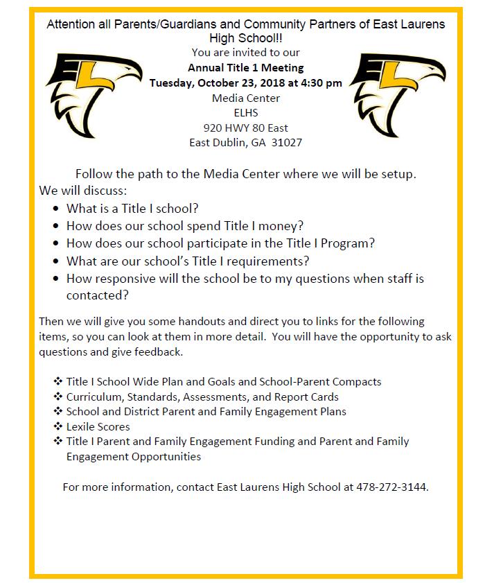 ELHS Fall Annual Title I School Invitation - East Laurens