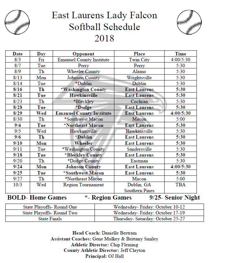 2018 Softball Schedule