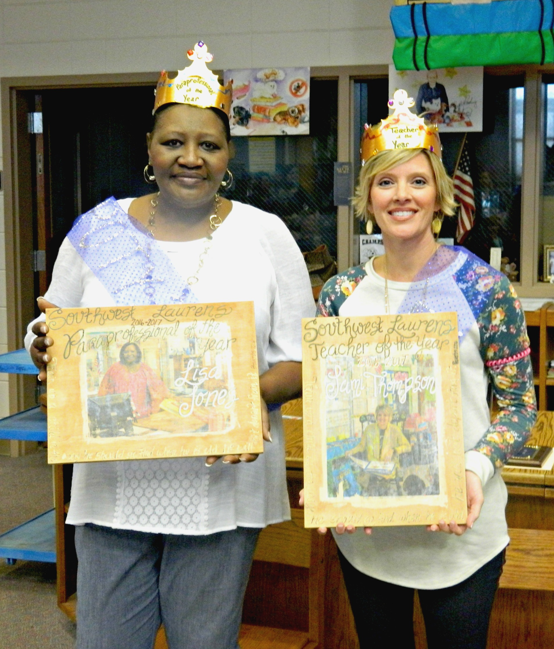 2016-2017 SWLE Teacher and Paraprofessional of the Year.  Southwest Laurens Elementary held a reception to honor their Teacher of the Year (Jamie Thompson) and Paraprofessional of the Year (Lisa Jones).  Both honorees are highly committed and respected among their peers.  They are dedicated to their profession and work diligently to help all students thrive.  Pictured left to right: Lisa Jones and Jamie Thompson