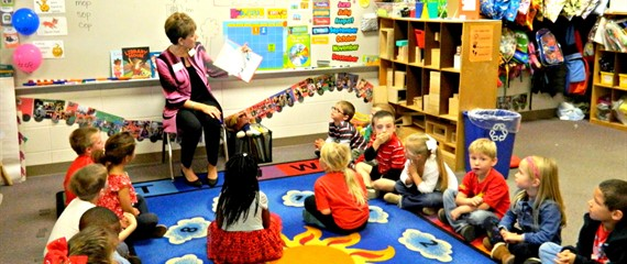Our Superintendent - Dr. Juli Alligood - reading to one of our PreK Classes!
