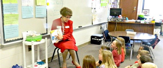 LCSS Instructional Director - Dr. Ronda Hightower - reading to one of our 1st grade classes!