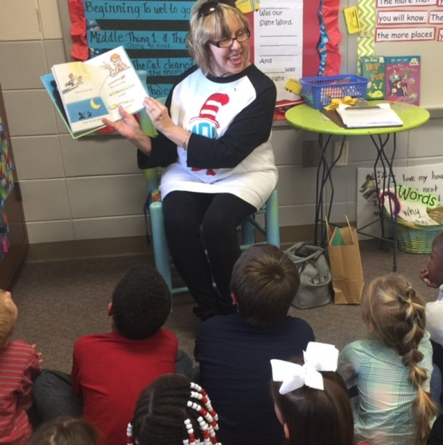 Former educator - Mrs. Martha Gaillard - reading to one of our kindergarten classes!