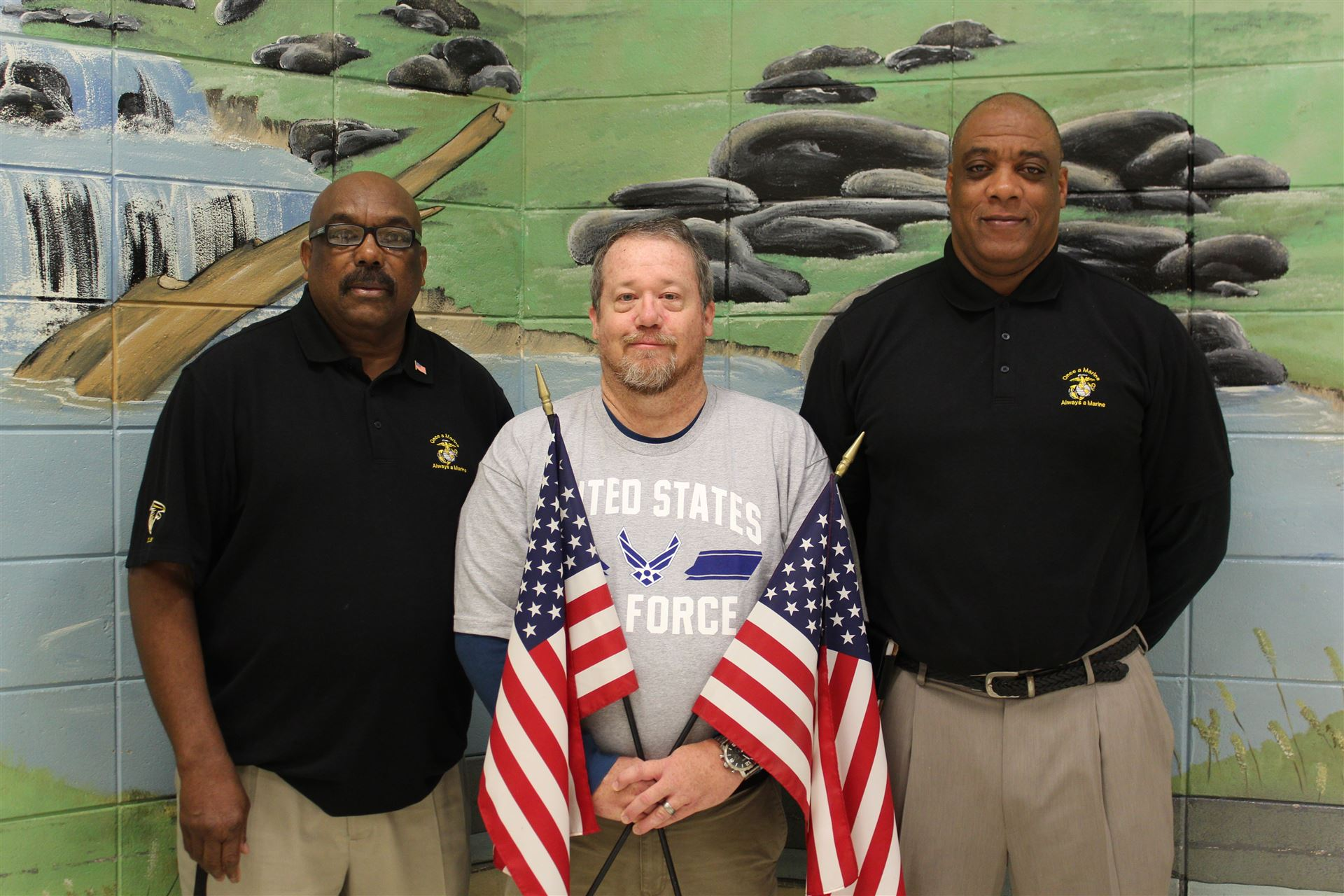 East Laurens High School Veterans (left to right): Carl Tyson, Scott Davenport, and Jimmy Williams.  Thank you for serving our country!